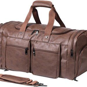NEW Leather Travel Bag with Shoe Pouch, 52L